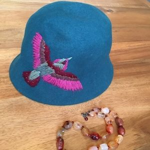 Wool Hat with Hummingbird Embroidery